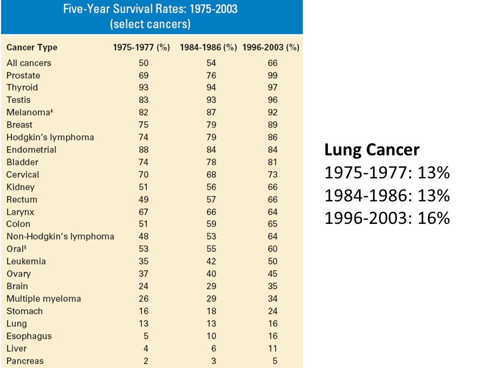 Lung Cancer 1975-1977: 13% 1984-1986: 13% 1996-2003: 16%