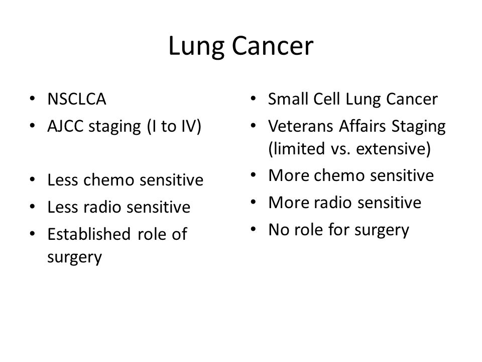 Lung Cancer NSCLCA AJCC staging (I to IV) Less chemo sensitive
