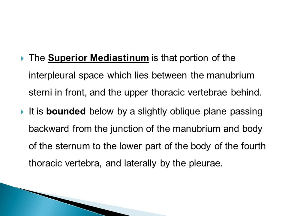 The Superior Mediastinum is that portion of the interpleural space which lies between the manubrium sterni in front, and the upper thoracic vertebrae behind.