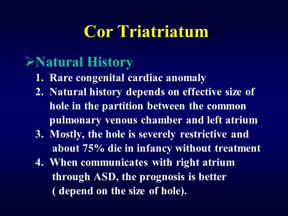 Cor Triatriatum Natural History 1. Rare congenital cardiac anomaly