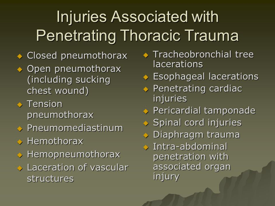 Injuries Associated with Penetrating Thoracic Trauma