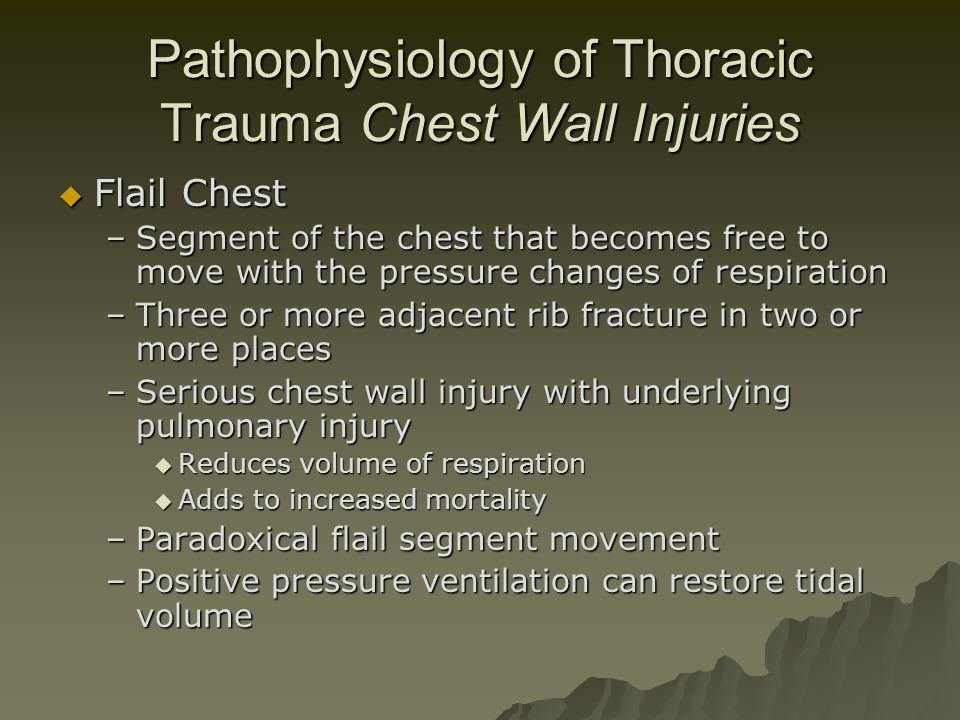 Pathophysiology of Thoracic Trauma Chest Wall Injuries