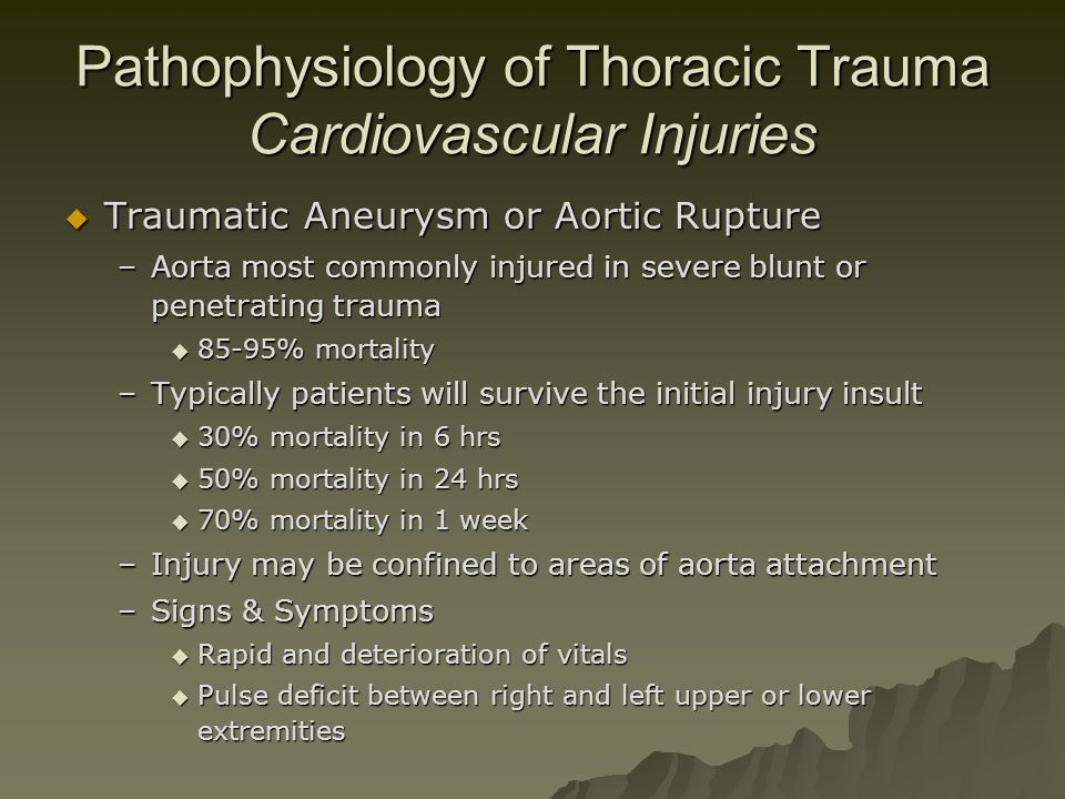 Pathophysiology of Thoracic Trauma Cardiovascular Injuries