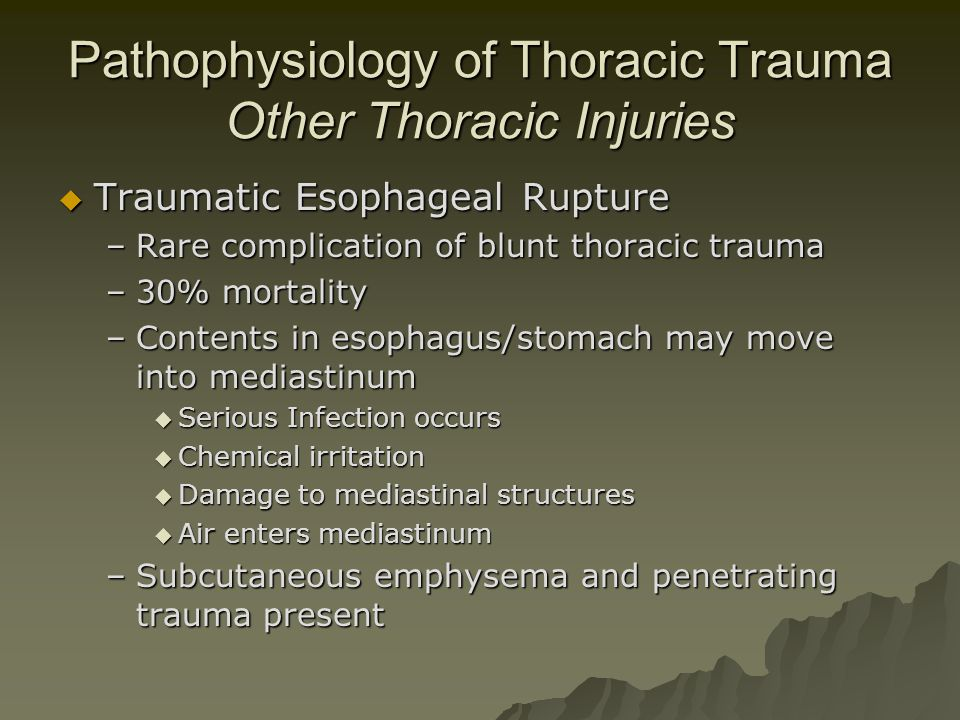 Pathophysiology of Thoracic Trauma Other Thoracic Injuries