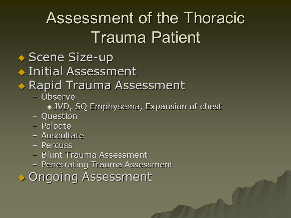 Assessment of the Thoracic Trauma Patient