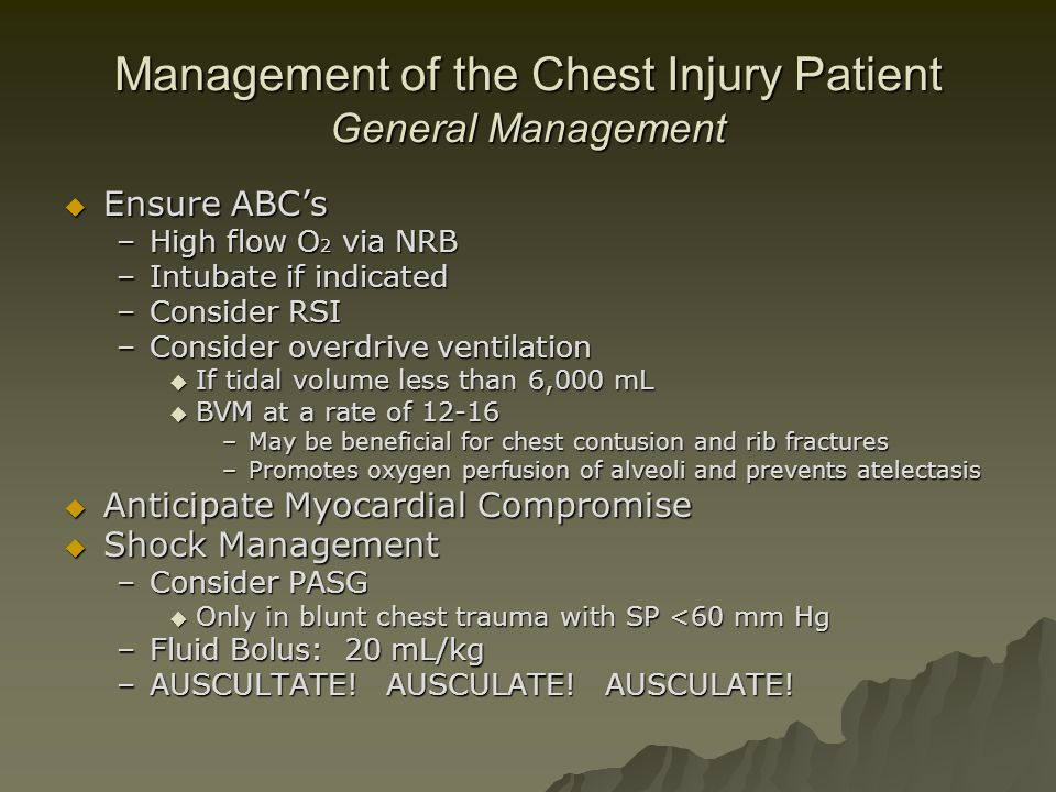 Management of the Chest Injury Patient General Management
