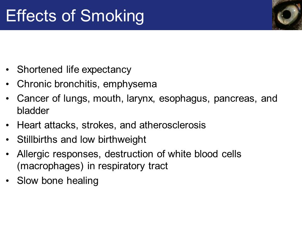 Effects of Smoking Shortened life expectancy