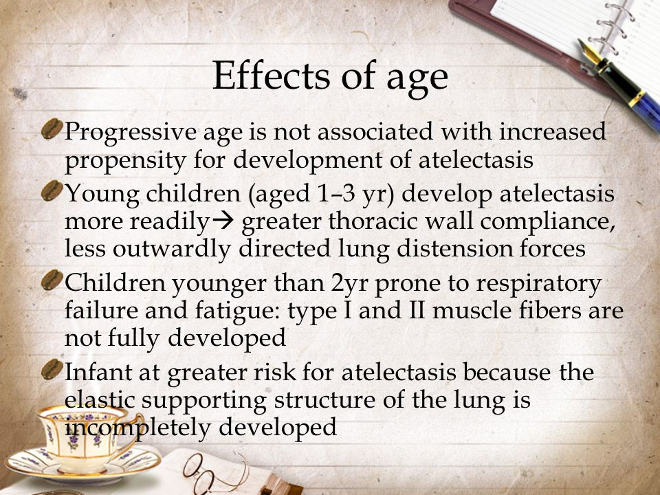 Effects of age Progressive age is not associated with increased propensity for development of atelectasis.