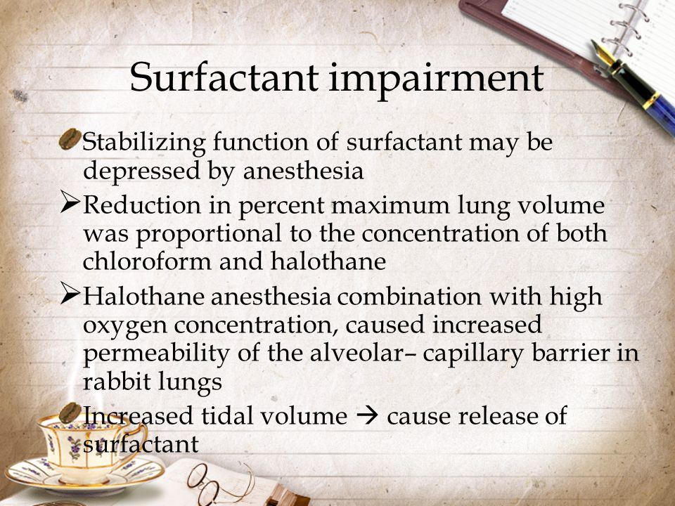 Surfactant impairment