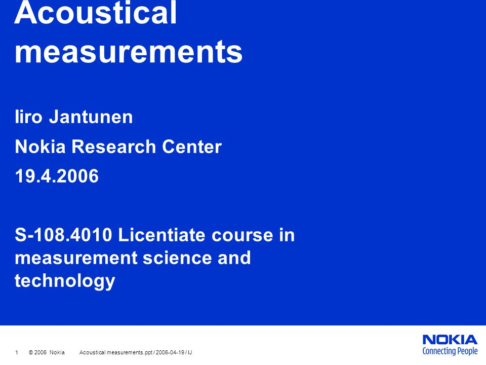 Acoustical measurements