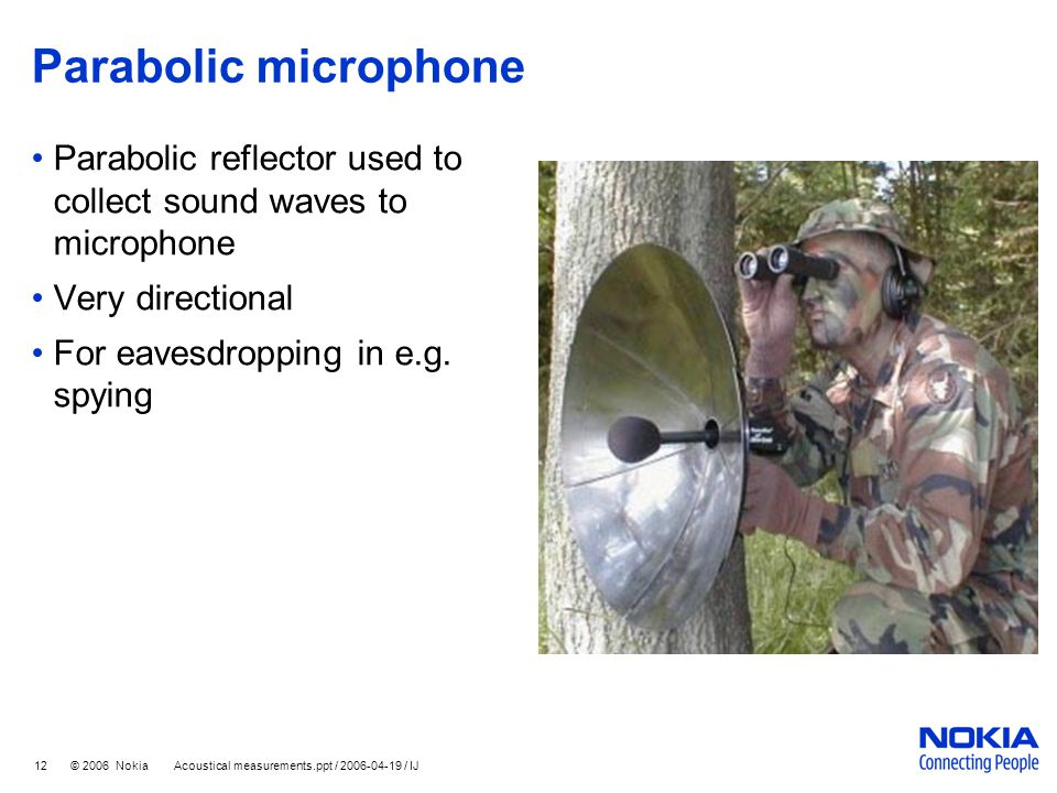 Parabolic microphone Parabolic reflector used to collect sound waves to microphone. Very directional.