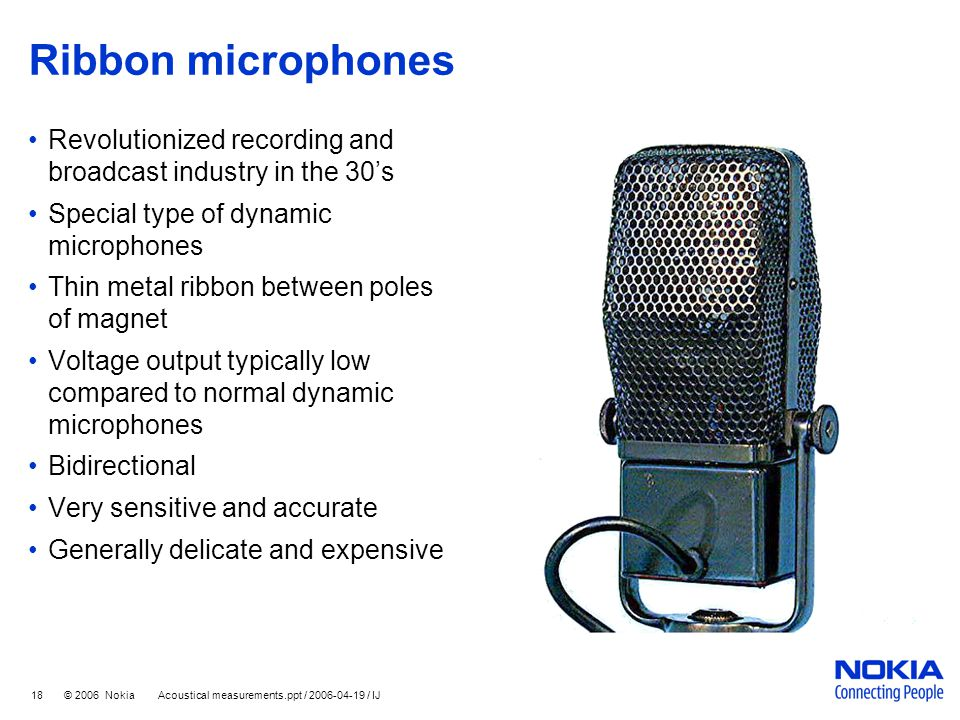 Ribbon microphones Revolutionized recording and broadcast industry in the 30's. Special type of dynamic microphones.