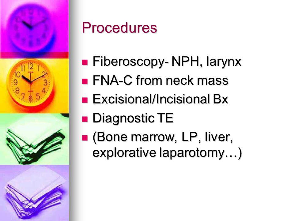 Procedures Fiberoscopy- NPH, larynx FNA-C from neck mass
