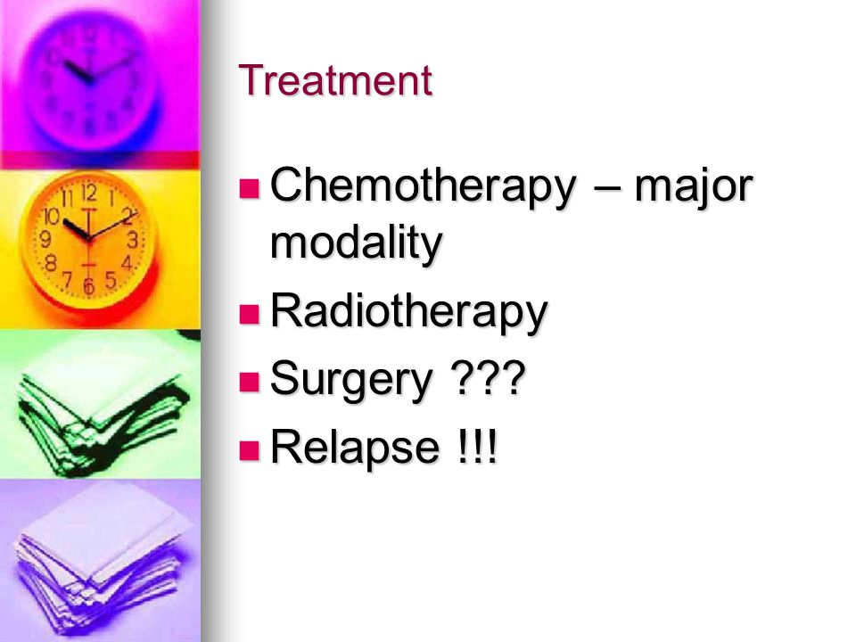 Chemotherapy – major modality Radiotherapy Surgery Relapse !!!