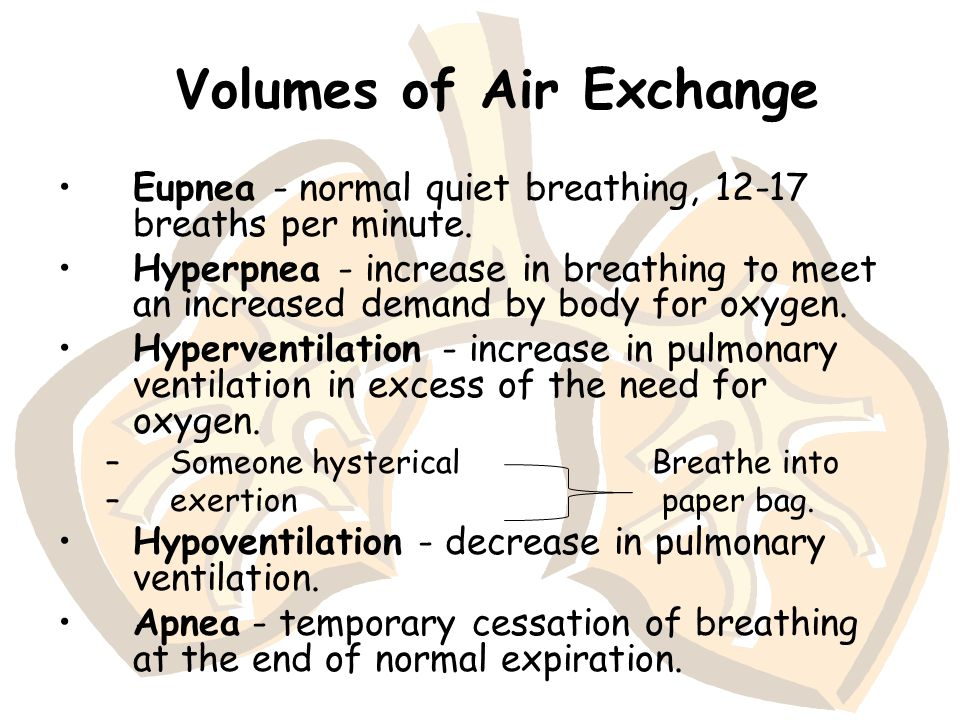 Volumes of Air Exchange