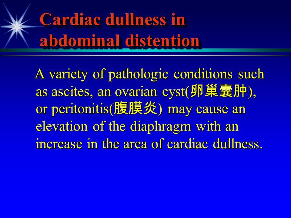 Cardiac dullness in abdominal distention
