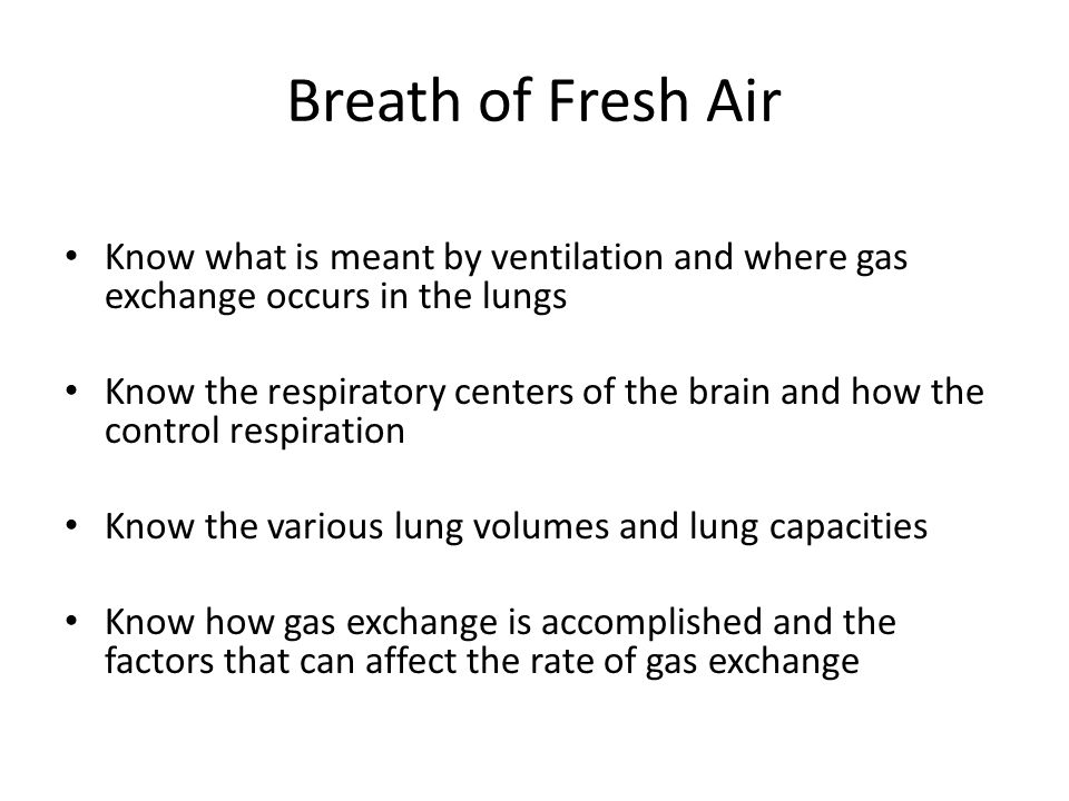 Breath of Fresh Air Know what is meant by ventilation and where gas exchange occurs in the lungs.