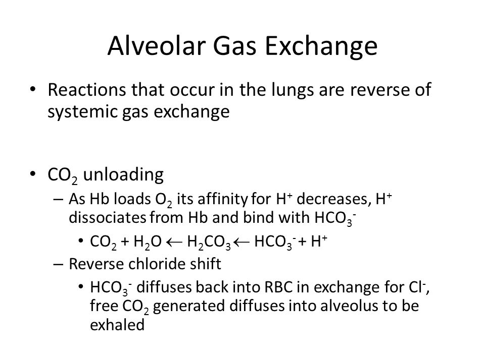 Alveolar Gas Exchange Reactions that occur in the lungs are reverse of systemic gas exchange. CO2 unloading.
