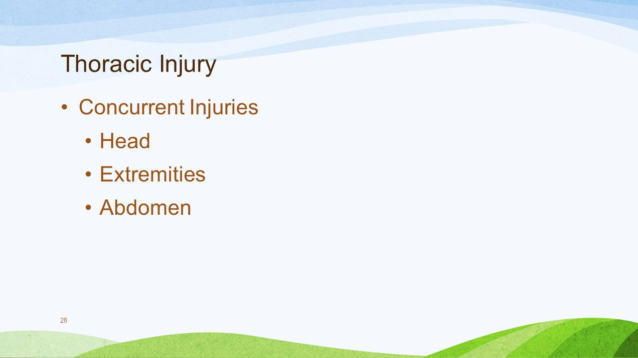 Thoracic Injury Concurrent Injuries Head Extremities Abdomen