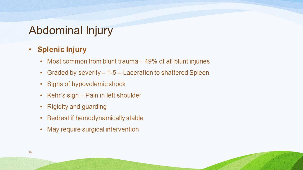 Abdominal Injury Splenic Injury