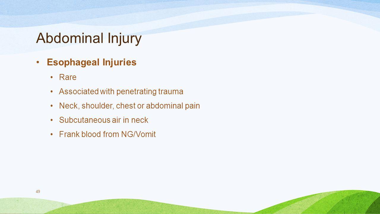 Abdominal Injury Esophageal Injuries Rare