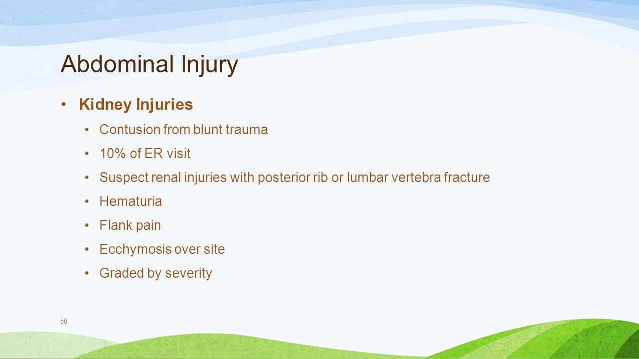 Abdominal Injury Kidney Injuries Contusion from blunt trauma