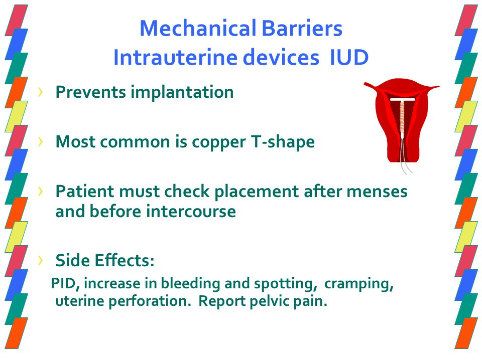 Mechanical Barriers Intrauterine devices IUD