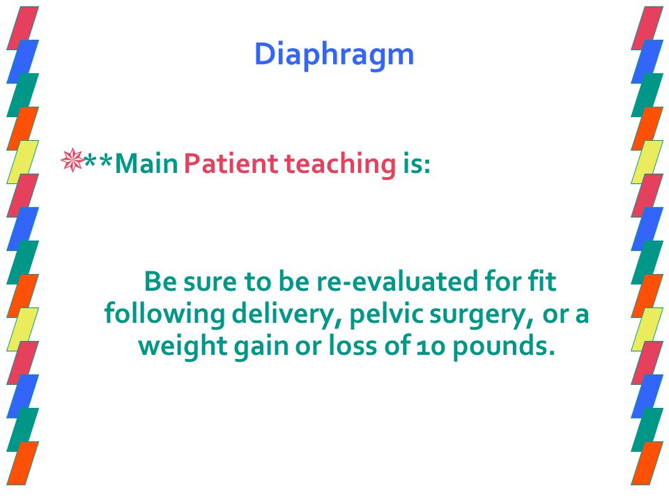 Diaphragm **Main Patient teaching is: