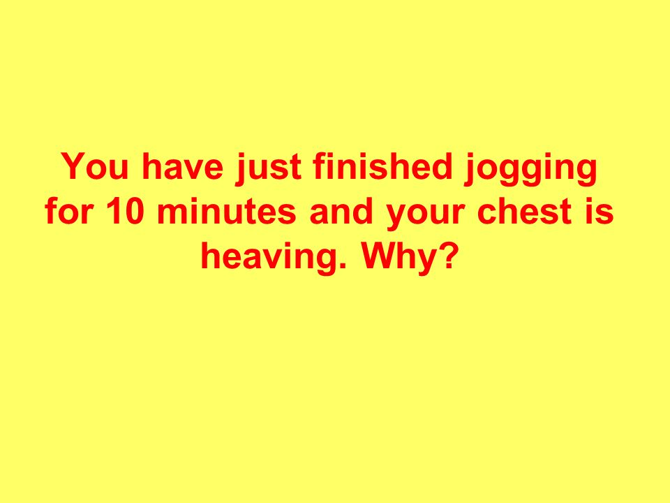You have just finished jogging for 10 minutes and your chest is heaving. Why