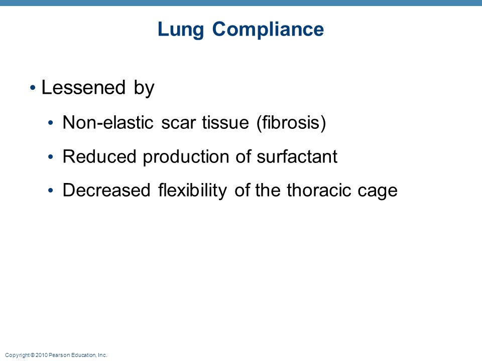 Lung Compliance Lessened by Non-elastic scar tissue (fibrosis)