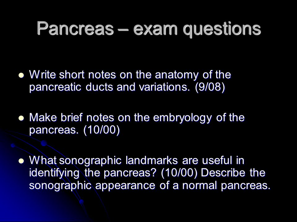 Pancreas – exam questions