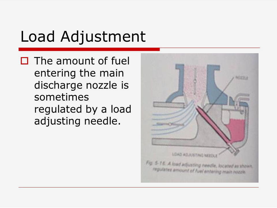 Load Adjustment The amount of fuel entering the main discharge nozzle is sometimes regulated by a load adjusting needle.