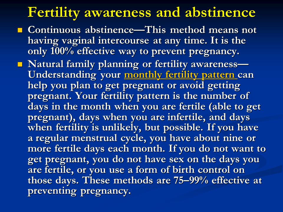 Fertility awareness and abstinence