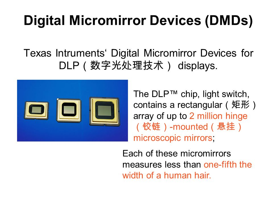 Digital Micromirror Devices (DMDs) Texas Intruments' Digital Micromirror Devices for DLP(数字光处理技术) displays.
