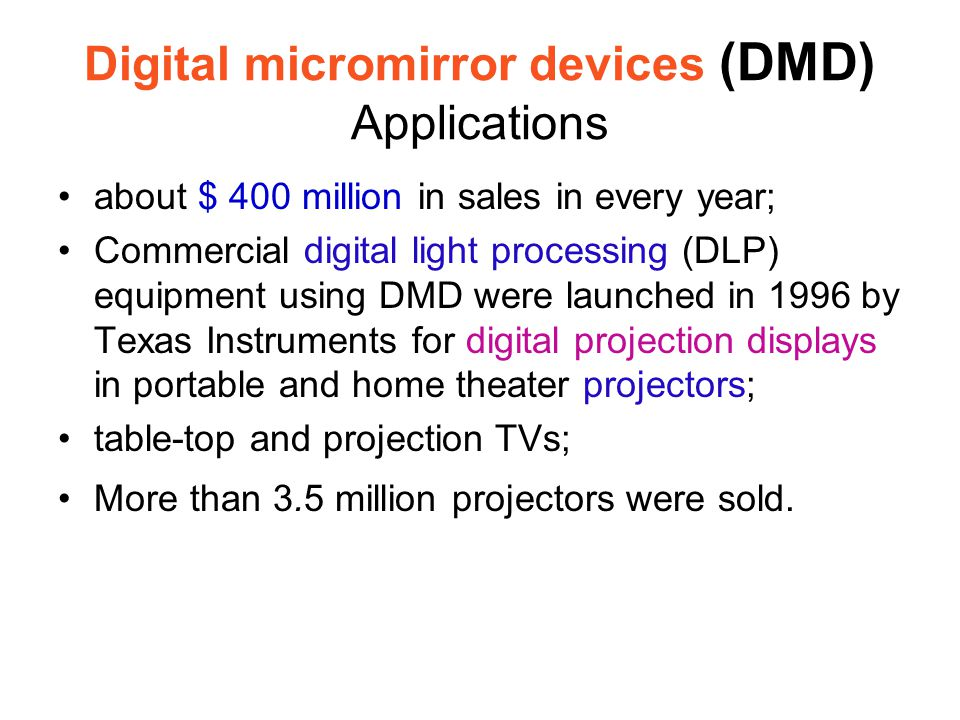 Digital micromirror devices (DMD) Applications