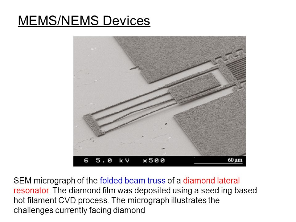MEMS/NEMS Devices SEM micrograph of the folded beam truss of a diamond lateral resonator. The diamond film was deposited using a seed ing based.