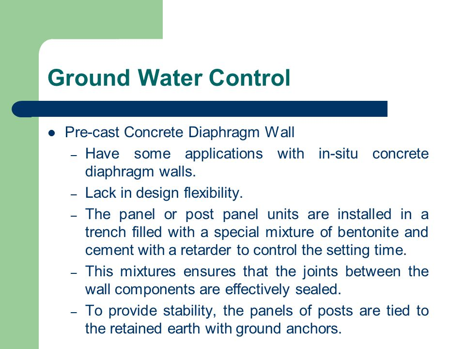 Ground Water Control Pre-cast Concrete Diaphragm Wall