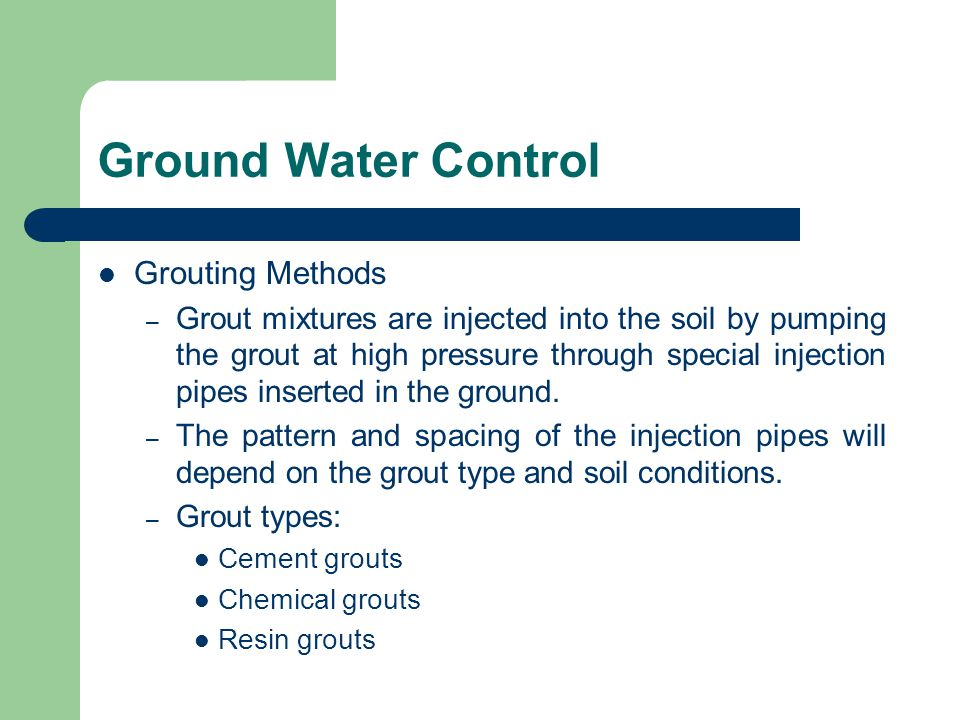 Ground Water Control Grouting Methods