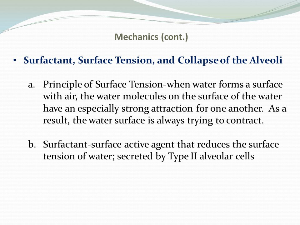 Mechanics (cont.) Surfactant, Surface Tension, and Collapse of the Alveoli. Principle of Surface Tension-when water forms a surface.
