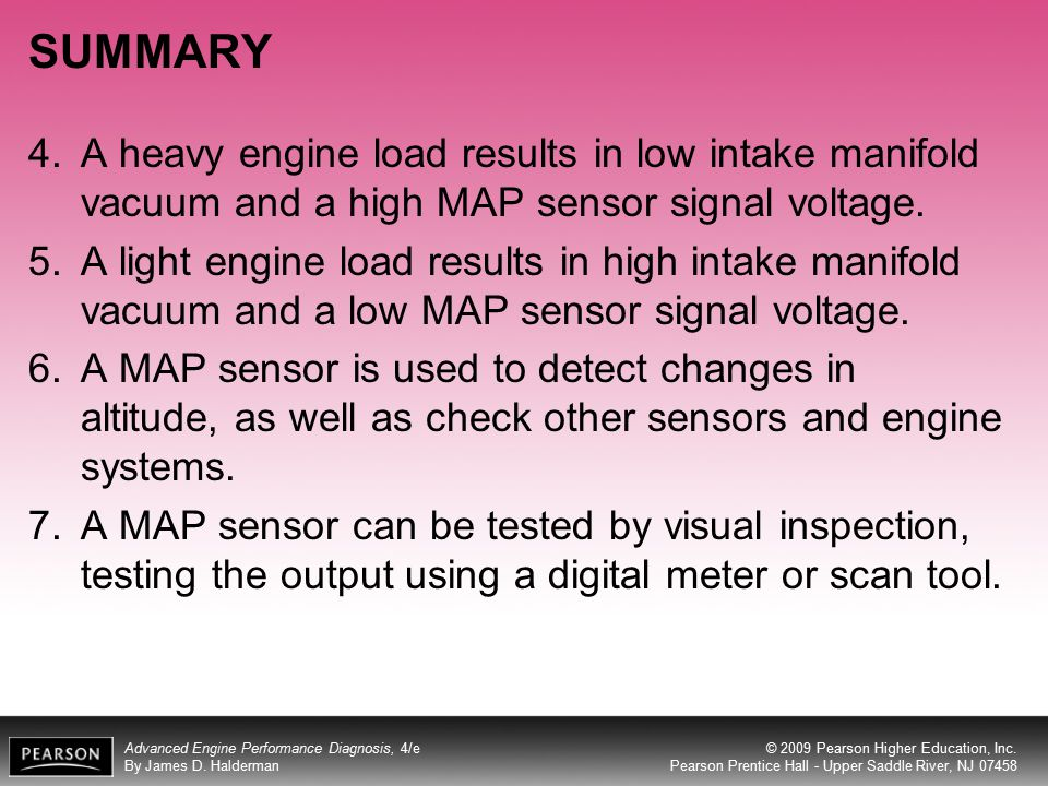 SUMMARY A heavy engine load results in low intake manifold vacuum and a high MAP sensor signal voltage.