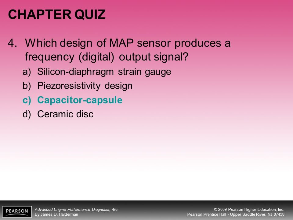 CHAPTER QUIZ 4. Which design of MAP sensor produces a frequency (digital) output signal Silicon-diaphragm strain gauge.