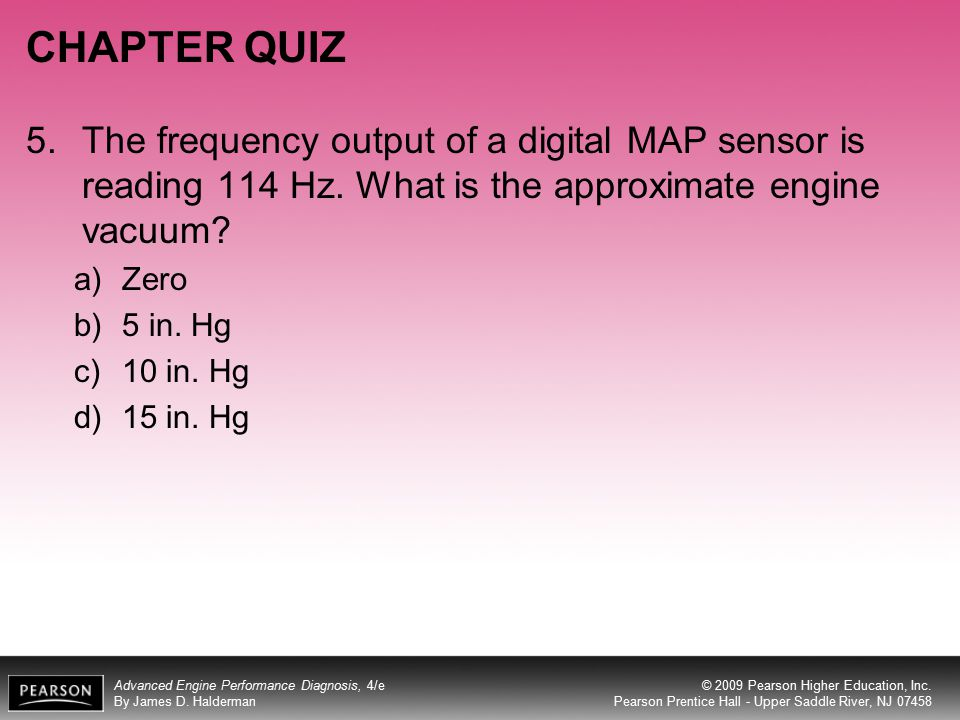 CHAPTER QUIZ 5. The frequency output of a digital MAP sensor is reading 114 Hz. What is the approximate engine vacuum