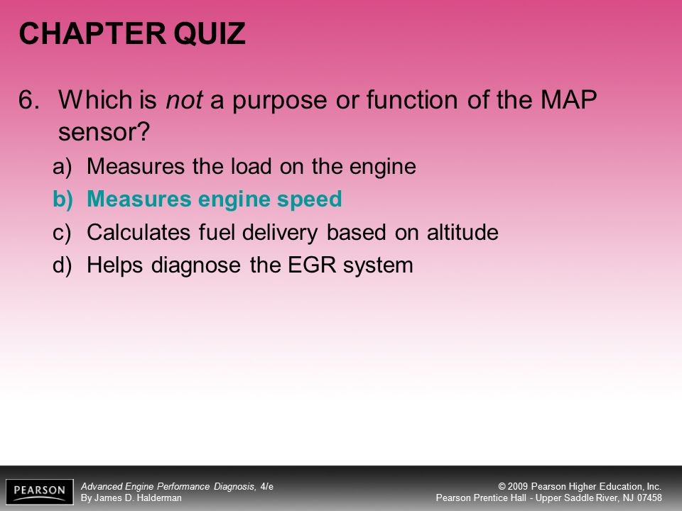 CHAPTER QUIZ 6. Which is not a purpose or function of the MAP sensor