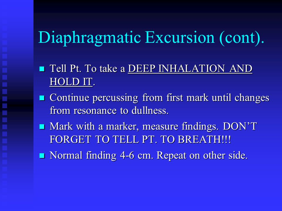Diaphragmatic Excursion (cont).