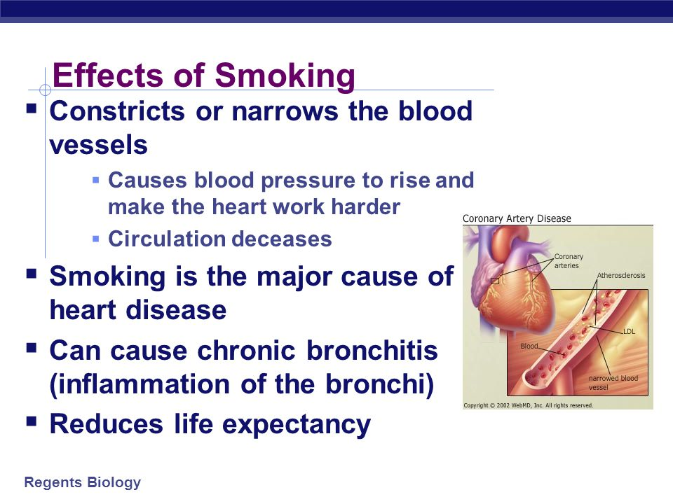 Effects of Smoking Constricts or narrows the blood vessels