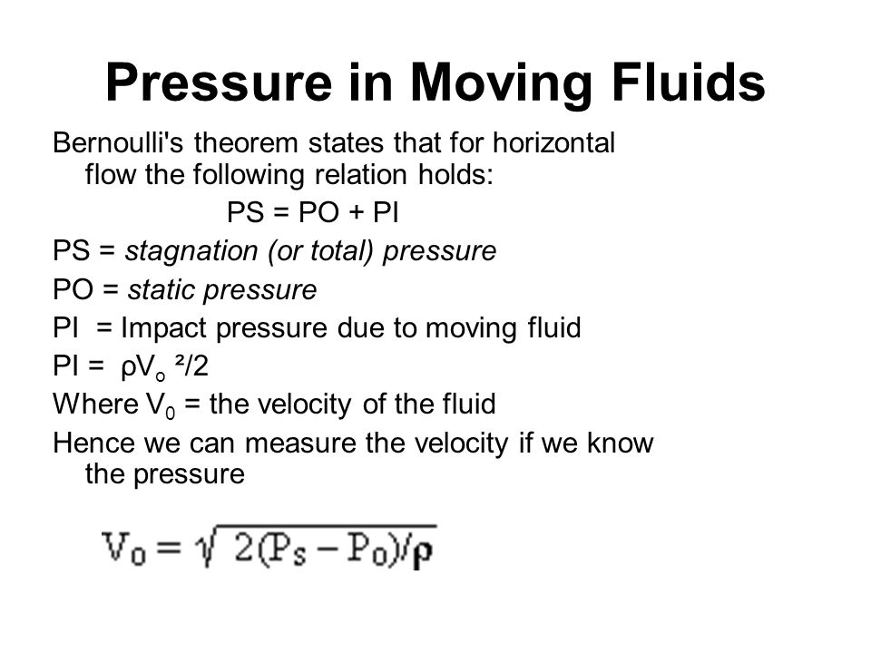 pressure and velocity relationship in fluids allowed