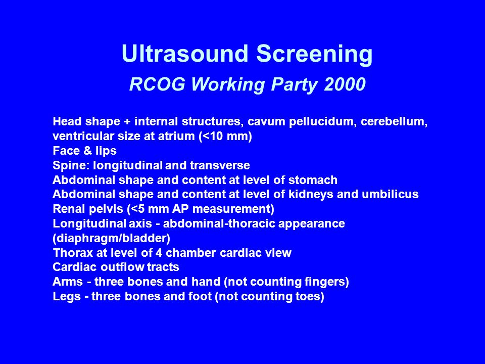 Ultrasound Screening RCOG Working Party 2000