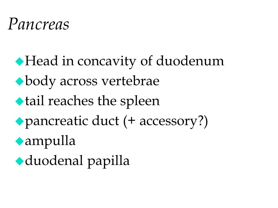 Pancreas Head in concavity of duodenum body across vertebrae