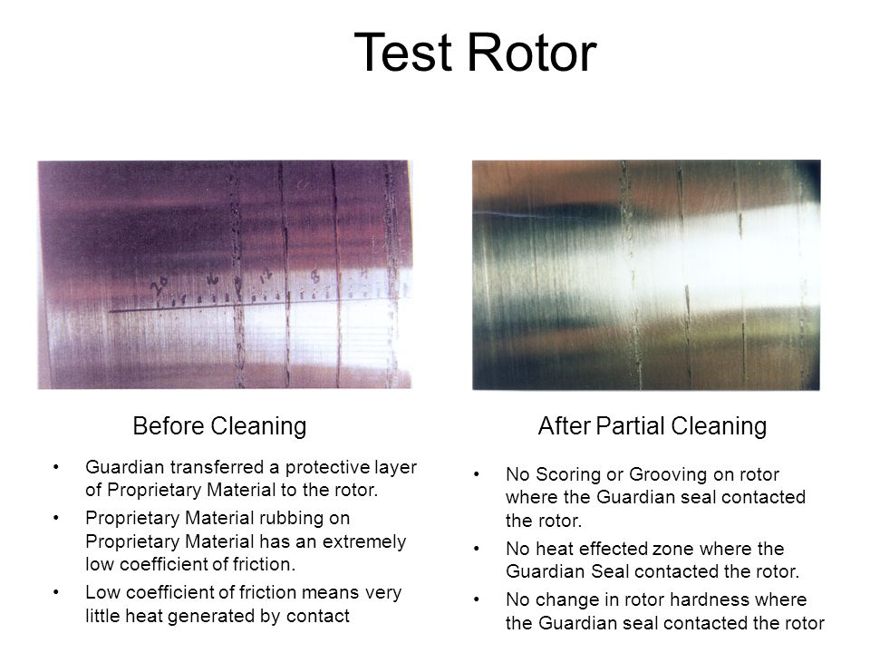 Test Rotor Before Cleaning After Partial Cleaning
