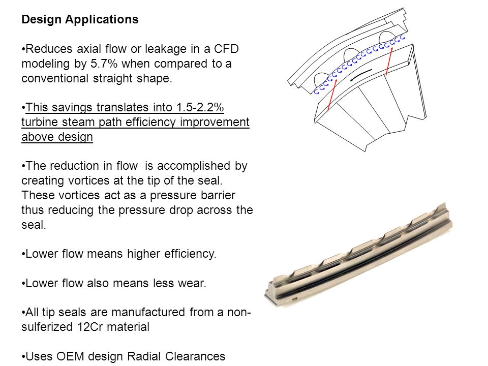 Design Applications Reduces axial flow or leakage in a CFD modeling by 5.7% when compared to a conventional straight shape.